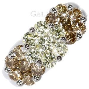 ダイヤモンド リング フラワーモチーフ ファンシーカラー ダイヤ 計2.00ct ブラウンダイヤモンド K18WGホワイトゴールド ジュエリー 指輪|gallery-rare