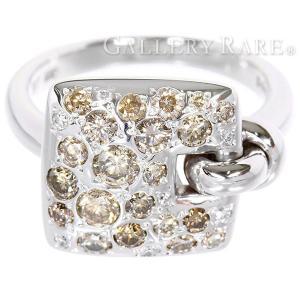 ダイヤモンド リング チャームモチーフ スクエア 1.00ct ブラウンダイヤモンド ホワイトゴールド サイズ約14号 ジュエリー 指輪|gallery-rare