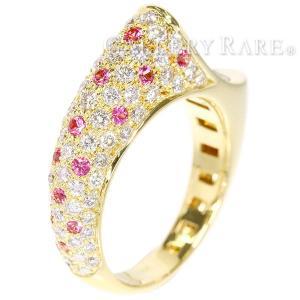 サファイア パヴェダイヤ リング ピンクサファイア 0.37ct ダイヤモンド 1.02ct K18YGイエローゴールド サイズ約13号 ジュエリー 指輪|gallery-rare