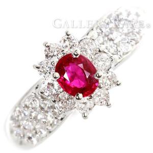 ルビー リング ルビー 0.45ct ダイヤモンド 0.63ct プラチナ900 Pt900 リングサイズ約12.5号 ジュエリー 指輪 パヴェダイヤ|gallery-rare