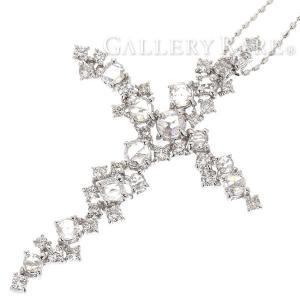 ダイヤモンド ネックレス クロス ローズカット ダイヤモンド 計1.10ct K18WGホワイトゴールド ジュエリー ダイアモンド ペンダント|gallery-rare