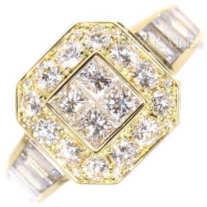 ダイヤモンド リング スクエア パヴェダイヤ ダイヤモンド 4.857ct K18YGイエローゴールド サイズ約15号 ジュエリー 指輪|gallery-rare