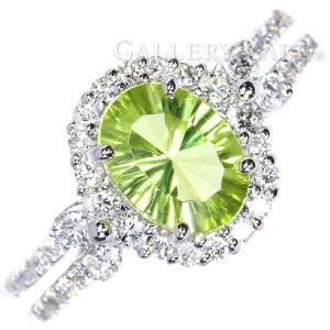 ペリドット リング ペリドット 1.14ct ダイヤモンド 計0.40ct K18WGホワイトゴールド サイズ約10.5号 ジュエリー アクセサリー 指輪|gallery-rare