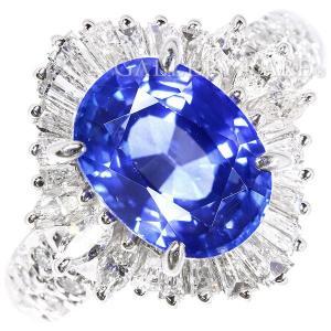 サファイア リング ブルーサファイア 3.24ct ダイヤモンド 0.77ct プラチナ900 Pt900 リングサイズ約8号 ジュエリー 指輪 テーパーダイヤ|gallery-rare