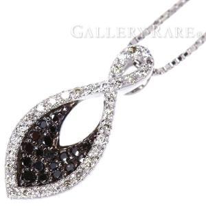 ダイヤモンド ネックレス ダイヤモンド ブラックダイヤモンド 計0.30ct K18WGホワイトゴールド ジュエリー ペンダント ダイアモンド|gallery-rare