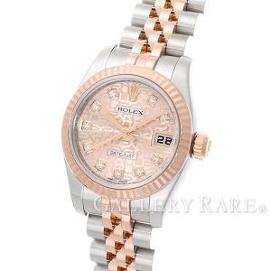 ロレックス デイトジャスト ピンクコンピュータ文字盤 10Pダイヤ ランダム ルーレット 179171G ROLEX 腕時計 レディース|gallery-rare