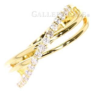 ダイヤモンド リング ウェーブ ダイヤモンド 0.30ct K18YGイエローゴールド ジュエリー 指輪 ダイアモンド|gallery-rare