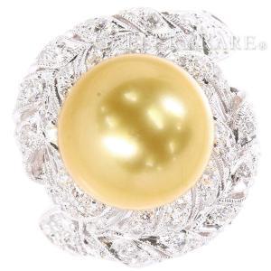 パール リング ゴールデンパール ダイヤモンド 0.85ct K18WGホワイトゴールド リングサイズ約11.5〜12号 ジュエリー 指輪 ダイヤモンド|gallery-rare