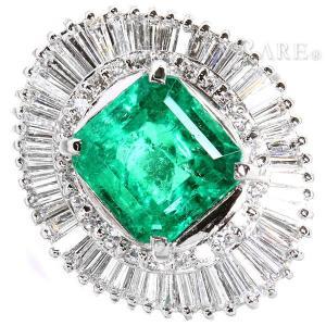 エメラルド リング エメラルド 2.36ct ダイヤモンド 1.00ct プラチナ900 Pt900 リングサイズ約11号 ジュエリー テーパーダイヤ|gallery-rare