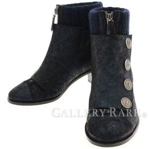 シャネル ショートブーツ ココマーク ネイビー レディースサイズ36 CHANEL 靴 ヒール【ファッション】|gallery-rare