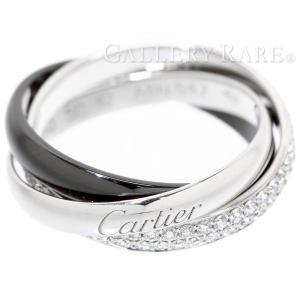 カルティエ リング トリニティ ドゥ カルティエ リング セラミック SM ダイヤモンド 0.45ct K18WGホワイトゴールド ブラックセラミック サイズ50 Cartier 指輪|gallery-rare