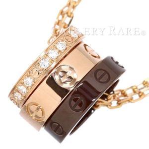 カルティエ ネックレス ラブネックレス ダイヤモンド 0.08ct K18PGピンクゴールド ブラウンセラミック Cartier ペンダント gallery-rare