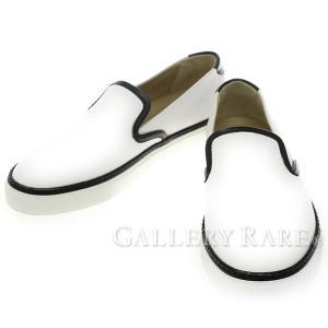 エルメス スニーカー Kick キック スリッポン ヴォーエプソン ホワイト メンズサイズ39 1/2 HERMES 靴 slip on バイカラー|gallery-rare