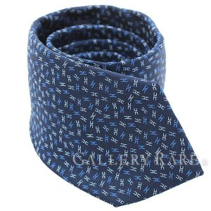 エルメス ネクタイ スパークリングH Sparkling H ブルー シルク HERMES メンズ H柄 ヘヴィシルクタイ|gallery-rare