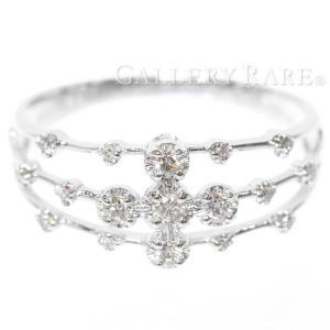 ダイヤモンド リング クロスモチーフ ダイヤモンド 0.20ct K18WGホワイトゴールド リングサイズ約15号 ジュエリー 指輪 ダイアモンド|gallery-rare
