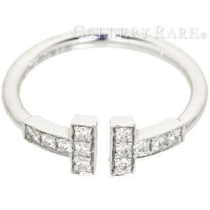 ティファニー リング Tワイヤー ダイヤモンド 0.13ct K18WGホワイトゴールド リングサイズ約9号 TIFFANY 指輪 Tコレクション|gallery-rare