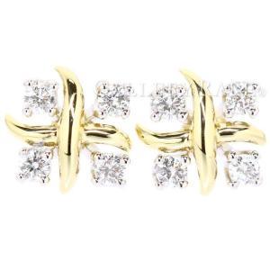 ティファニー ピアス ジーンシュランバーゼー ダイヤモンド 0.29ct プラチナ950 PT950 K18YGイエローゴールド Tiffany&Co.|gallery-rare