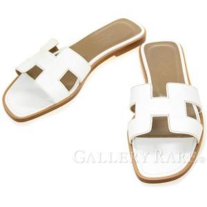 エルメス サンダル オラン Oran ホワイト ボックスカーフ レディースサイズ36 HERMES 靴|gallery-rare