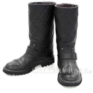 シャネル ブーツ エンジニアブーツ マトラッセ ココマーク レディースサイズ37 13P G26590 CHANEL 靴 gallery-rare