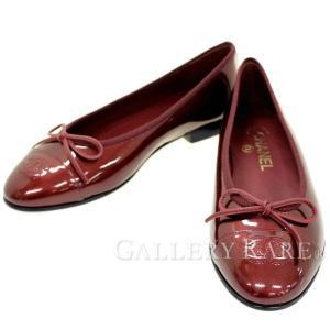 シャネル パンプス ココマーク リボン パテント バレリーナシューズ レディースサイズ36 1/2 G02819 フラットシューズ 靴|gallery-rare