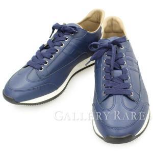 エルメス スニーカー ゴール Goal ネイビー×ホワイト レザー メンズサイズ43 HERMES 靴 メンズ シューズ gallery-rare