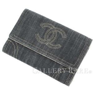 シャネル 二つ折り財布 スパークリングデニム ココマーク A31991 CHANEL 財布 gallery-rare