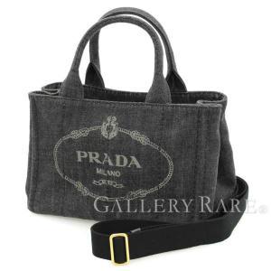 プラダ トートバッグ カナパ CANAPA デニム 2wayショルダーバッグ ブラック B2439G PRADA バッグ 黒|gallery-rare