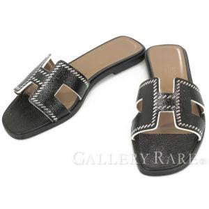 エルメス サンダル オラン Oran ブラック ヴォーエプソン レディースサイズ37 1/2 HERMES 靴 エナメル スリッパ|gallery-rare