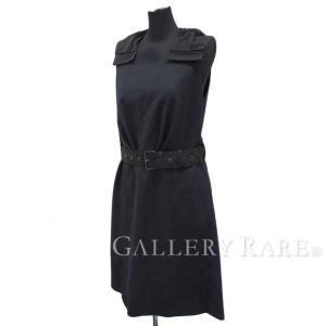 プラダ ワンピース ノースリーブ リボン ネイビー ベルト付 レディースサイズ40S PRADA 服|gallery-rare