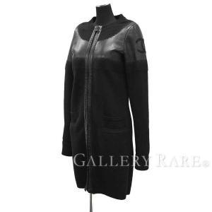 シャネル コート ノーカラー ロングコート ココマーク ブラック ウール レザー レディースサイズ34 P44 服 カーディガン|gallery-rare