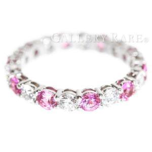 ティファニー リング フルサークル シェアドプロングセッティング ピンクサファイア ダイヤモンド プラチナ950 サイズ約8号 指輪|gallery-rare
