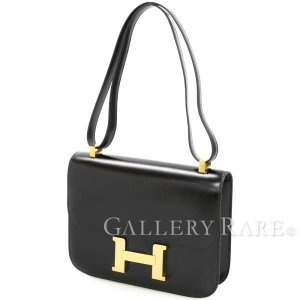 エルメス ショルダーバッグ コンスタンス23 ブラック×ゴールド金具 ボックスカーフ ○R刻印 HERMES ヴィンテージ 黒|gallery-rare