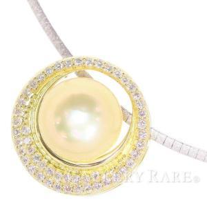 パール ネックレス 白蝶真珠 オメガチェーン ダイヤモンド 0.61ct K18YGイエローゴールド K18WGホワイトゴールド|gallery-rare