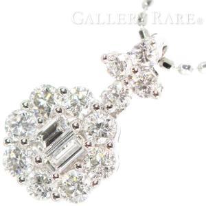 ダイヤモンド ネックレス ダイヤモンド 計0.39ct K18WGホワイトゴールド ジュエリー ペンダント エメラルドカット|gallery-rare