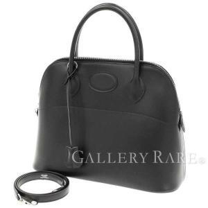エルメス ハンドバッグ ボリード31 cm ブラック×シルバー金具 ボックスカーフ HERMES Bolide バッグ 黒|gallery-rare