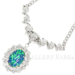 ブラックオパール ネックレス 2.398ct ダイヤモンド 計2.33ct プラチナ900 Pt900 プラチナ850 Pt850|gallery-rare