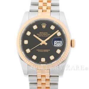 ロレックス デイトジャスト 10Pダイヤ 黒文字盤 K18PGピンクゴールド G番 116231G ROLEX 腕時計|gallery-rare