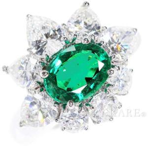 エメラルド リング 1.54ct ダイヤモンド 2.78ct プラチナ900 Pt900 サイズ約12.5号 ジュエリー 指輪 フラワーモチーフ|gallery-rare