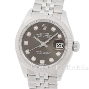 ロレックス デイトジャスト28 K18WGホワイトゴールド SS 10Pダイヤ グレー文字盤 ランダム番 279174G ROLEX 腕時計 レディース|gallery-rare