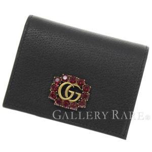 グッチ 二つ折り財布 ダブルG&クリスタル レザー ブラック 499783 GUCCI 財布 カードケース 2018年クルーズコレクション gallery-rare