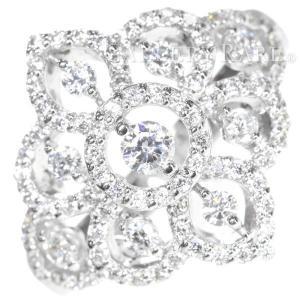 ダイヤモンド リング パヴェダイヤ 約0.8ct アラベスク調 K18WGホワイトゴールド サイズ約12号 ジュエリー アンティークデザイン 指輪|gallery-rare