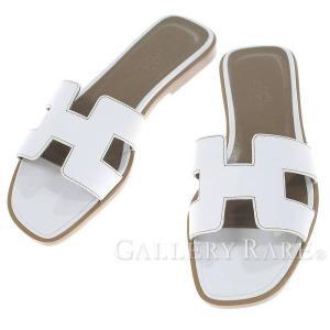 エルメス サンダル オラン Oran ホワイト ボックスカーフ レディースサイズ34 HERMES 靴|gallery-rare