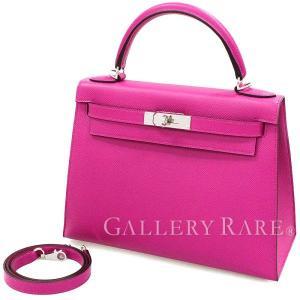 エルメス ハンドバッグ ケリー28 cm 外縫い ローズパープル×シルバー金具 ヴォーエプソン A刻印 バッグ