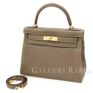 エルメス ハンドバッグ ケリー28 cm 内縫い エトゥープ×ゴールド金具 トリヨンクレマンス C刻印 HERMES Kelly バッグ