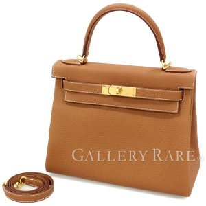 エルメス ハンドバッグ ケリー28 cm 内縫い ゴールド×ゴールド金具 トゴ C刻印 HERMES Kelly バッグ