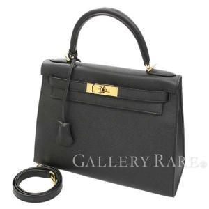 エルメス ハンドバッグ ケリー28 cm 外縫い ブラック×ゴールド金具 ヴォーエプソン X刻印 HERMES Kelly バッグ
