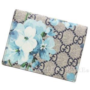 ccdbbc1bfc07 グッチ カードケース GGブルームス 札入れ付き 410088 GUCCI 定期入れ パスケース 名刺入れ ブルー フラワー 花柄