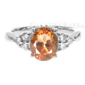 インペリアルトパーズ リング 0.91ct ダイヤモンド 0.17ct Pt900 プラチナ サイズ...