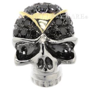 ブラックダイヤモンド ブローチ スカル ダイヤモンド 0.16ct K18WG ホワイトゴールド ダイアモンド ジュエリー ピンブローチ ドクロ|gallery-rare