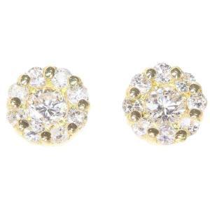 ダイヤモンド ピアス フラワーモチーフ ダイヤモンド計0.30ct 9Pダイヤ K18YGイエローゴールド ダイアモンド|gallery-rare